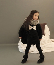 Wholesale Girls Simple Cotton Dresses - Wholesale -Girls autumn models wild temperament simple bow bottoming dress princess skirt Long T shirt bag winter dot baby dress kids skirt