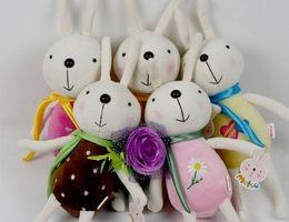 Discount wholesale plush monkeys - Cute Plush Rabbit Bunny Stuffed Cartoon Animals Toys Animals ribbon scarf scarves Christmas decorations dolls gift 20cm