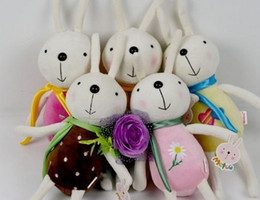 Wholesale Bunny Stuff Toys - Cute Plush Rabbit Bunny Stuffed Cartoon Animals Toys Animals ribbon scarf scarves Christmas decorations dolls gift 20cm
