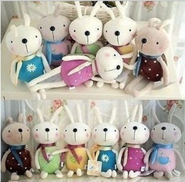 Wholesale Animals Ribbons - Cute Plush Rabbit Stuffed Cartoon Animals Toys Animals ribbon scarf Christmas decorations dolls gift 20cm
