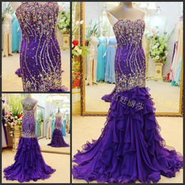 Wholesale Rhinestone Colorful Evening Dresses - Purple sweetheart mermaid colorful beaded sequins rhinestones sweep train evening dresses zipper chiffon cascading ruffles prom dresses