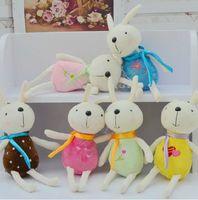 Wholesale Monkeys Toys Brands - KAWAII Cute Plush Rabbit Bunny Stuffed Cartoon Animals Toys Animals ribbon scarf scarves Christmas decorations dolls gift 20cm brand new