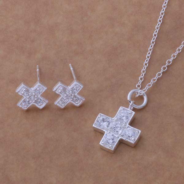 Ensemble de bijoux de mode ordre mixte 925 boucles d'oreilles en argent collier pour les femmes cadeau de mariage livraison gratuite /