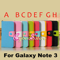 Wholesale Luxury Photo Frame Photoframe Candy Hit Contrast Color PU Wallet Leather Case Cover For Samsung Galaxy Note N9000 III Note