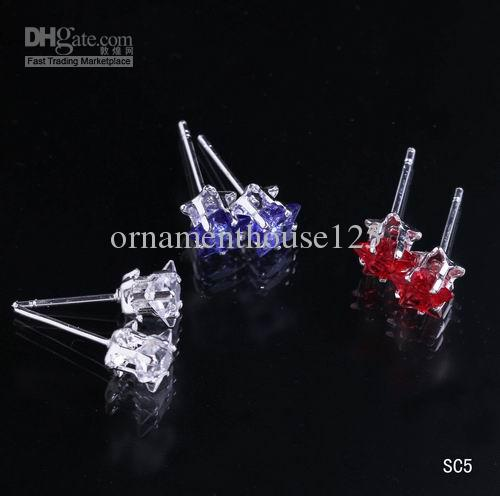Hot Selling /925 Sterling Silver Ear Studs Colorful Crystal Star Earrings in Box with Rubber Back Stoppers Gift SC5*1