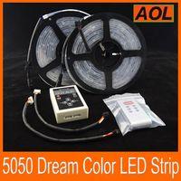 Wholesale 1pcs Ip - Magic Dream color RGB 5050 SMD Flash LED Strip Light Waterproof IP 67 133 changes Addressable 6803 1809 IC 10m + 1pcs RF Controller 10m set
