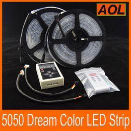 Wholesale 133 Controller Led - Magic Dream color RGB 5050 SMD Flash LED Strip Light Waterproof IP 67 133 changes Addressable 6803 1809 IC 10m + 1pcs RF Controller 10m set
