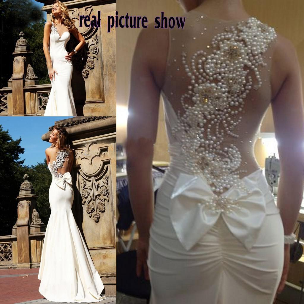 Peal Bead Wedding Dress See Through Neckline With One Shoulder ...