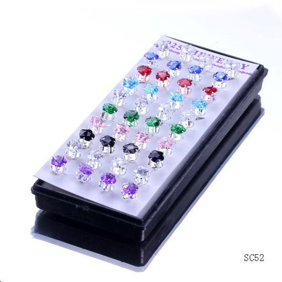 Brand New SC52 * 1 Box / Crystal Big Star 925 Boucles d'oreilles en argent Sterling oreille Goujons avec bouchon en caoutchouc Livraison gratuite