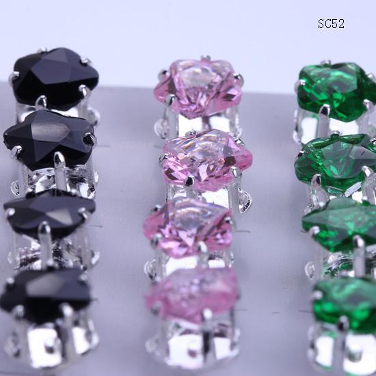 Marka Yeni SC52 * 1 Kutu 20 çift / 40 adet Kristal Büyük Yıldız ile 925 Ayar Gümüş Küpe Kulak Çiviler Kauçuk Geri Stoper Ücretsiz kargo