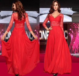 Wholesale Sexy Dazzing - Dazzing red long lace floor length chiffon zipper column ruffles sequins evening dresses beautiful pretty modern party dresses prom dresses