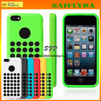 Wholesale Iphone 5c Dot Cases - Silicone Round Dots Soft Case For iphone 5C official design Rubber Back Cover 6 colorful
