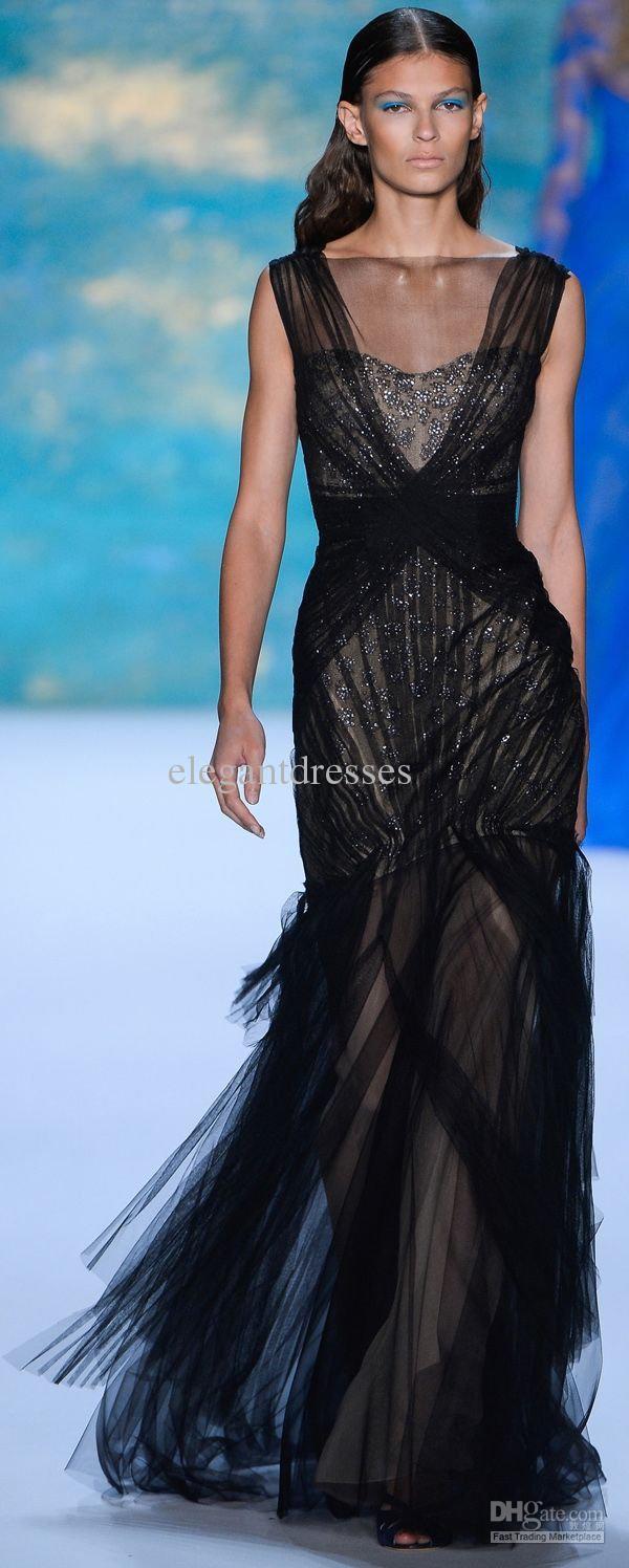 2016 middle east sheer high collar mermaid Elie Saab Evening dresses Prom dresses full length 105-11