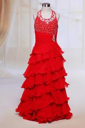 Wholesale Tiered Chiffon Flower Girl Dresses - Chic Beaded Red Chiffon Flower Girl Dresses for Wedding Party Floor Length Halter Neckline Girls Pageant Dress with Tiers