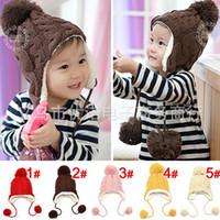 Wholesale Winter Earflap Baby Hats Red - Wholesale -Baby Winter Warm Beanie Hat Earflap Fur Cap Ski Hats Children Headwear 2-6Y 5p l