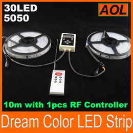 Wholesale Magic Chasing Strip - 5050 150LED waterproof tube digital RGB dream color magic Led Strip Light Ribbons Chasing 6803 1809 IC 10m set with 1pcs RF Controller DHL