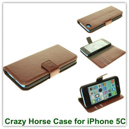 Wholesale Iphone 5c Folio - 10PCS Luxury Crazy Horse Pattern Brown PU Wallet Style Folio Back Skin Covers for iPhone 5C Wallet Stand Case Free Shipping