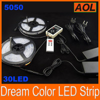 Wholesale Led Lighting Ip 67 - 5050 SMD Dream Color Flash LED Strip Lighting RGB waterproof IP 67 133 change running color RF Controller 12v 5a power 10M Set