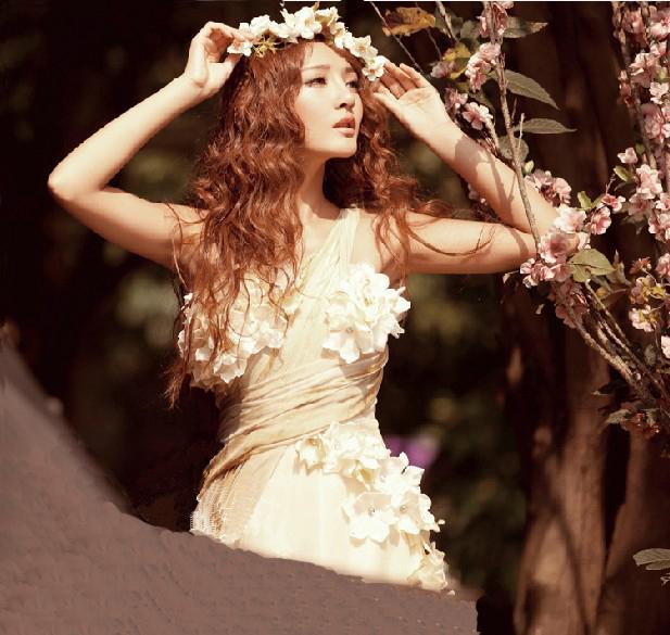 Gratis frakt 2014 ny ankomst elfenben champagne chiffong klänning en axel a-line golv längd blommor kväll prom klänningar riktigt bild