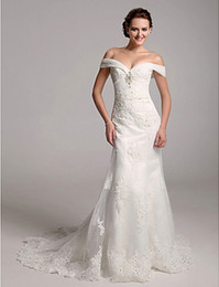 Nouvelle trompette de luxe / sirène hors-la-épaule en organza côté-drapé, perles, broche en cristal, Appliques sur robe de mariée en satin ? partir de fabricateur
