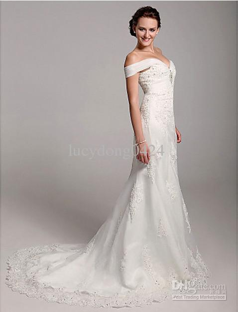 New Luxury Trumpet/Mermaid Off-the-shoulder Organza Side-Draped, Beading, Crystal Brooch, Appliques Over Satin Wedding Dress