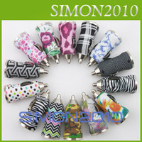 Wholesale Iphone Car Charger Zebra - USB Car Charger Mini Bullet Zebra Stripe Color Flower Power Adapter Universal Chinese Pattern for Iphone 5 5c 5s Samsung Galaxy s3 s4 Note 3
