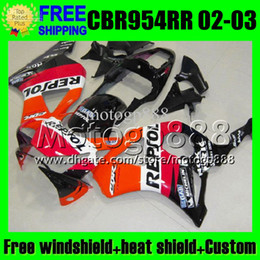 Wholesale Honda 954rr Repsol - Repsol 2giftsFor HONDA CBR954RR 02-03 CBR 954 954RR 2002 2003 MP6785 Free Customized 900RR CBR900RR CBR954 RR Orange red black 02 03 Fairing