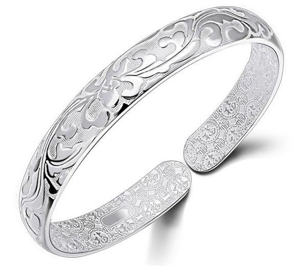 925 Ayar Gümüş Bileklik Bileklik Çin Tarzı Kadın Bilezik Çince Kelime Çiçek Bradelets Bohemian Takı Yüksek Kalite Ücretsiz Kargo