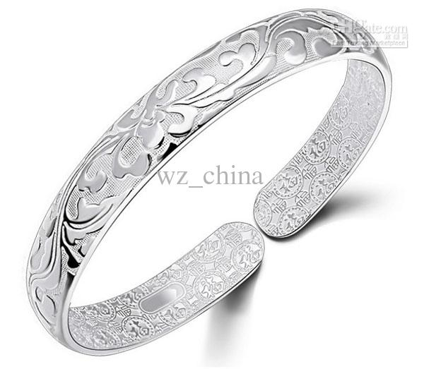 925 Sterling Silver Bangle Bracelet Chinese Style Women Bangles Chinese Word Flower Bradelets Bohemian Jewelry High Quality