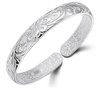 Wholesale Tibet Silver Flower Bracelet - 925 Sterling Silver Bangle Bracelet Chinese Style Women Bangles Chinese Word Flower Bradelets Bohemian Jewelry High Quality Free Shipping