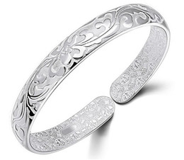 Wholesale Tibet Silver Bracelet Wholesale - 925 Sterling Silver Bangle Bracelet Chinese Style Women Bangles Chinese Word Flower Bradelets Bohemian Jewelry High Quality Free Shipping