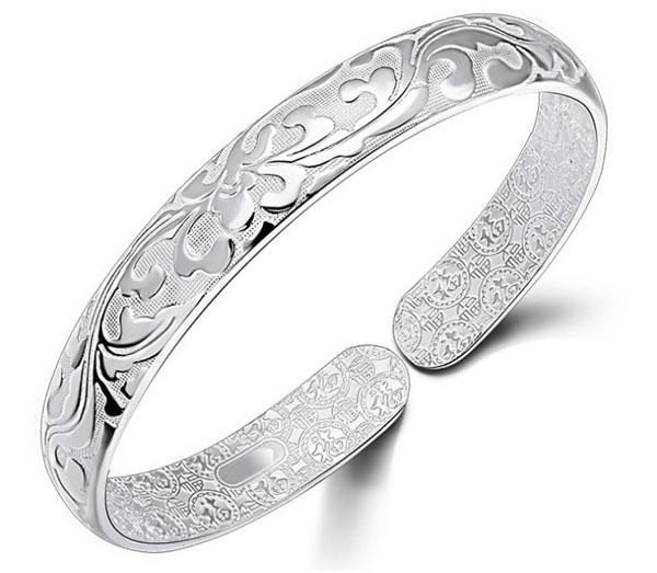 top popular 925 Sterling Silver Bangle Bracelet Chinese Style Women Bangles Chinese Word Flower Bradelets Bohemian Jewelry High Quality Free Shipping 2021