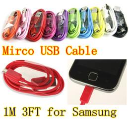 Coloré 1M 3FT 5pin V8 Micro USB câble de chargeur de synchronisation de données câble de charge universel pour Samsung S3 / HTC Blackerry câble USB pour usine en Solde