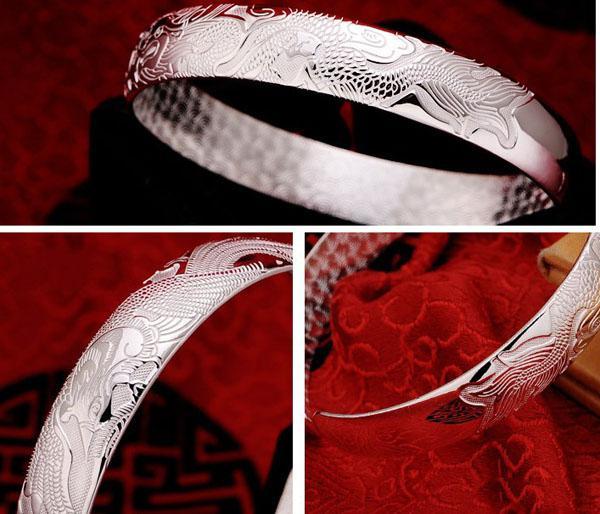 Brazaletes de dragón para hombre mujer chico nuevo estilo chino plata de ley 925 brazaletes abiertos oro blanco plateado encantos pulsera