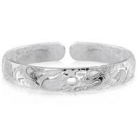 tibet silber drachen armband großhandel-Drachen Armreifen Für Männer Frauen Jungen Neue Chinesische Art 925 Sterling Silber Offene Armreifen Weißes Gold Überzogen Charms Armband Freeshipping