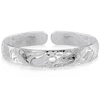 Wholesale Chinese Silver Bangles - Dragon Bangles For Men Women Boy New Chinese Style 925 Sterling Silver Open Bangles White Gold Plated Charms Bracelet Freeshipping