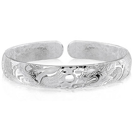 Sterling Silver Boys Bracelet Canada - Dragon Bangles For Men Women Boy New Chinese Style 925 Sterling Silver Open Bangles White Gold Plated Charms Bracelet Freeshipping