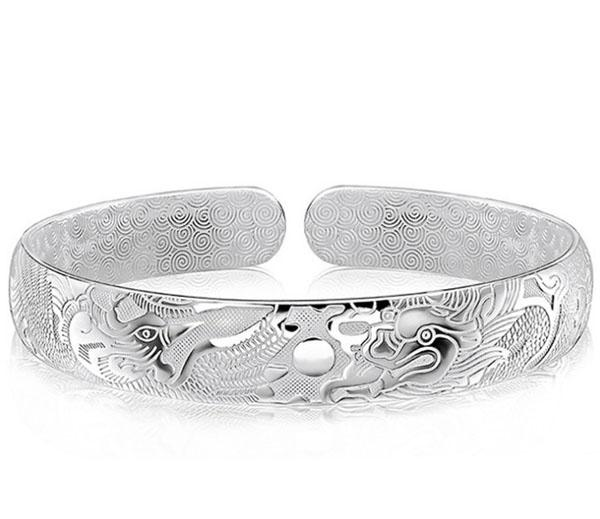 Dragon Bangles For Men Women Boy New Chinese Style 925 Sterling Silver Open Bangles White Gold Plated Charms Bracelet Freeshipping