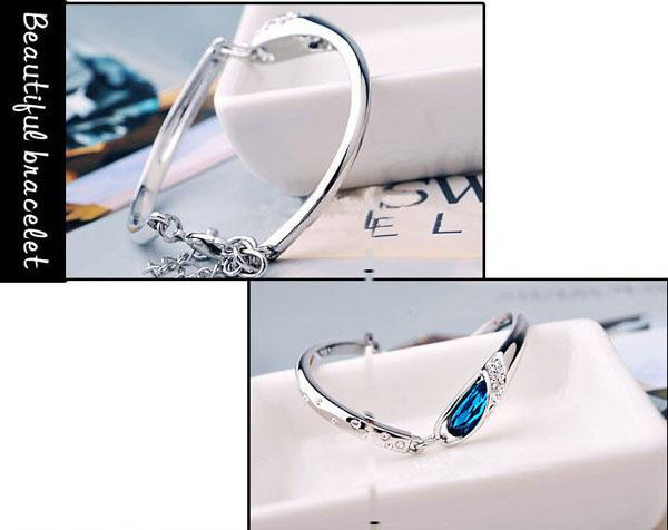 Luxury safir armband smycken ny stil charms blå österrike diamant armband armband 925 sterling silver glasskor hand smycken