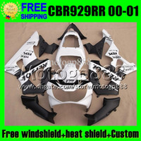 Wholesale Honda 929rr - 2gifts For HONDA 00 01 CBR 929 929RR Repsol White CBR929RR 900RR Free Customized MP6547 CBR900RR 2000 2001 CBR929 RR Black white ABS Fairing