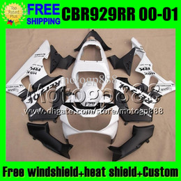Wholesale White Repsol Fairings - 2gifts For HONDA 00 01 CBR 929 929RR Repsol White CBR929RR 900RR Free Customized MP6547 CBR900RR 2000 2001 CBR929 RR Black white ABS Fairing