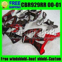 Wholesale Honda Cbr 929 Fairings Red - 2gifts For HONDA 00 01 CBR929RR red blk CBR 929 929RR 900RR MP6537 CBR900RR CBR929 RR 2000 2001 Red flames black Free Customized Fairing Kit