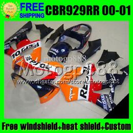 $enCountryForm.capitalKeyWord Australia - 2gifts For HONDA 00 01 CBR929RR Repsol Orange CBR 929 929RR 900RR MP6534 CBR900RR CBR929 RR 2000 red black 2001 Free Customized Fairing Kit