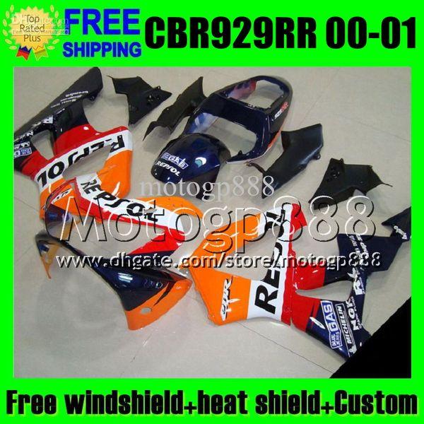 2gifts For HONDA 00 01 CBR929RR Repsol Orange CBR 929 929RR 900RR MP6534 CBR900RR CBR929 RR 2000 red black 2001 Free Customized Fairing Kit