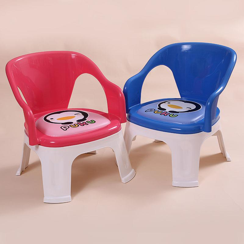 2019 Puku Blue Penguin Baby Plastic Dining Chair Name