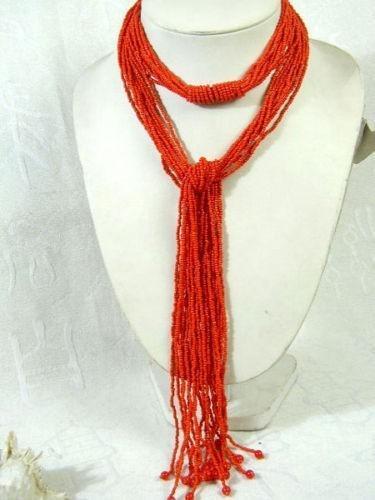 10S 50'L Maravilloso Tibetano Red Coral Loose Beads Collar / Sash