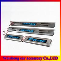 otomobil ferrari toptan satış-4 Adet / takım Krom LED Kapı Eşiği Chevrolet Cruze Paslanmaz Çelik Kapı Eşiği Itişme Plakaları Ücretsiz Nakliye