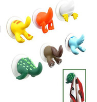 Wholesale Clothes Hangers Wholesale Free Shipping - Free shipping Cute Animal tail hook,Funny animal towel holder kitchen wall hanger 150pcs lot