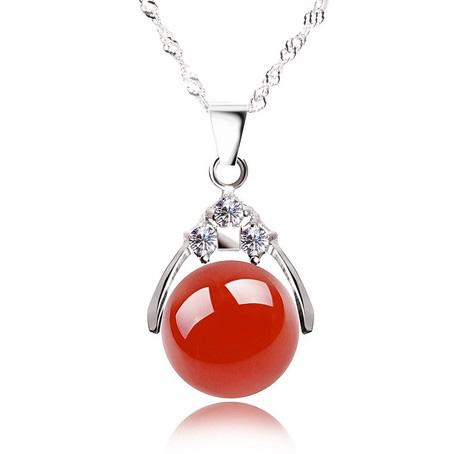 Wholesale Fashion Silver Pendant Guaranteed 100% Solid 925 Sterling Silver With 12mm Red Agate Bead Pg2050