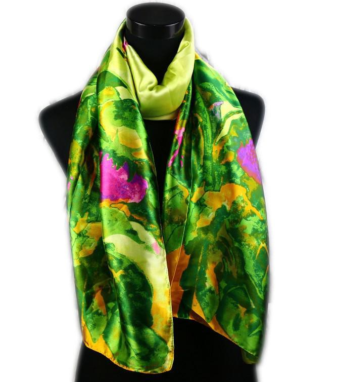 1 unids Moda Mujer Satén Hojas Verdes Y Rosa Caliente Flor Pintura Al Óleo Abrigo Largo Chal Playa Bufanda de Seda 160X50 cm